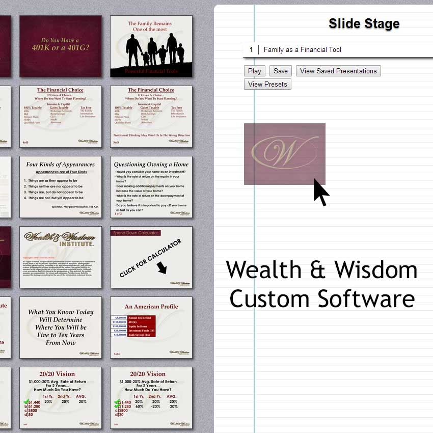 Wealth and Wisdom Presentation Builder